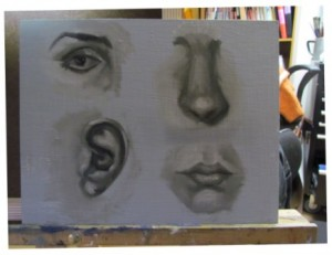 Practice facial Features with direct painting (alla prima)