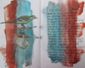 Ink and Gouache on pre-painted journal page