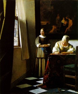 Lady writing a letter by Vermeer
