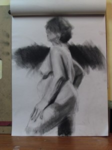 18x24 pastel on newsprint, life drawing, 30min. pose