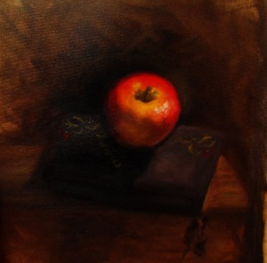 alla prima, apple and diary 8x8 in, oil on unstretched canvas