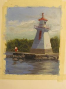 figures, fishing, goin' slow, lighthouse sign
